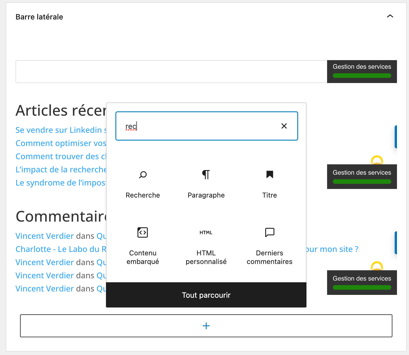 ajouter widget rechercher